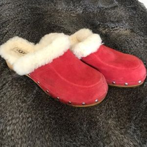 Uggs , red suede and fur 'clogs' barely worn , 7